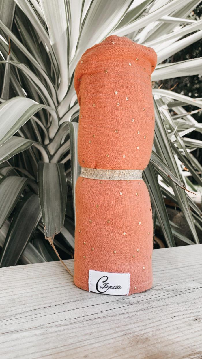 turban en coton couleur pêche
