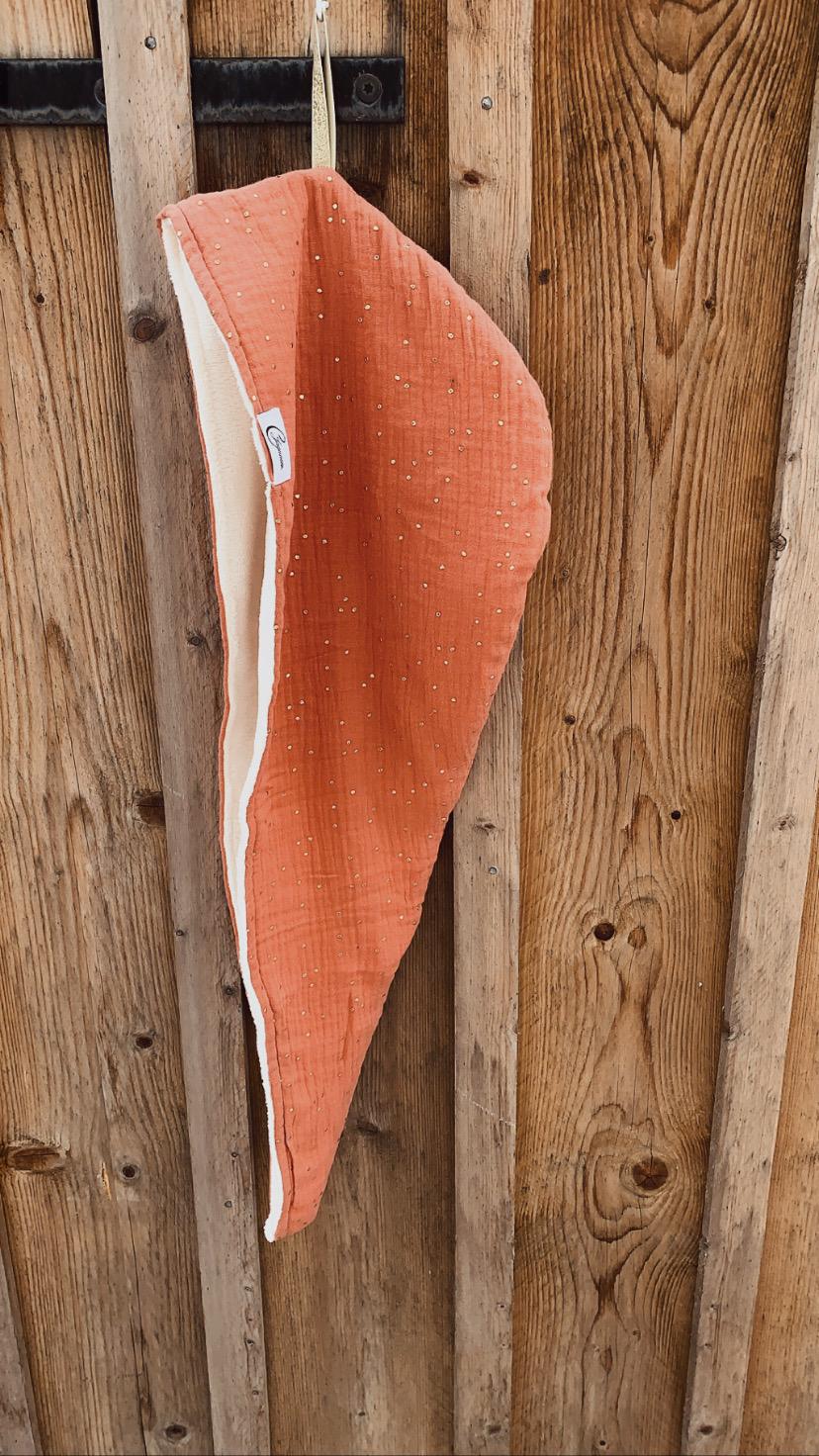 turban saumon à pois